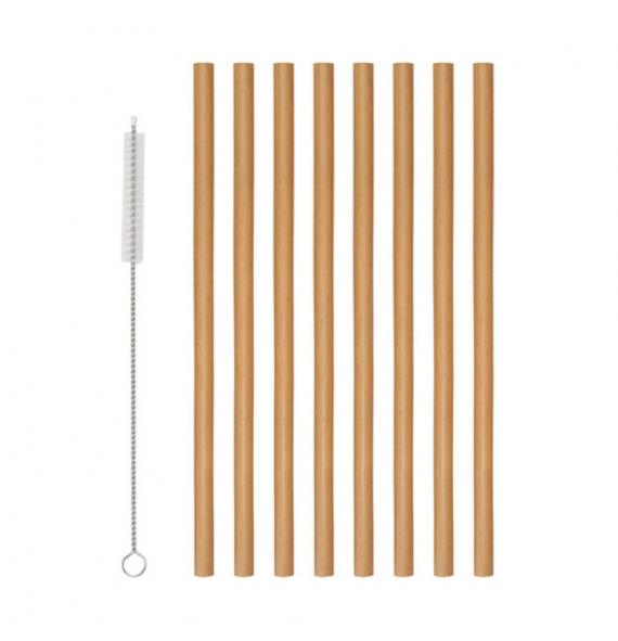 Popotes de Bambu 8 piezas y...